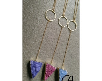 druzy pendant chain stainless steel