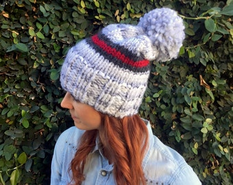 Red and Gray Stripe Chunky Slouchy Beanie