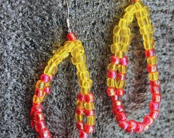 Yellow & Red Beaded Earrings