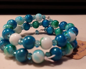 Teal, Green, and White Beaded Memory Wire Bracelet