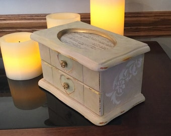 Shabby Chic Upcycled Jewelry Box// Vintage Hand Painted Jewelry Chest
