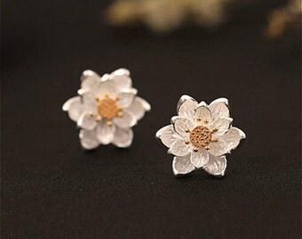Summer flower lotus silver earrings,  lotus flower, water lily solid earrings, jewelry earrings, lotus earrings, sterling silver 925 stud