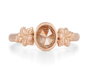 Cayenne Rose Cut Diamond, Vine Leaf Ring in 9ct Rose Gold - Alternative Engagement Ring, Made To Order By Hand