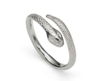Sterling Silver Serpent/Snake Crossover Ring