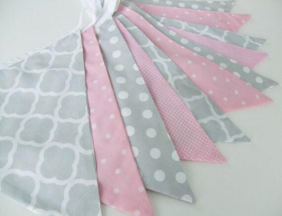 Pink and grey bunting baby girl decor nursery decor by for Pink and grey nursery fabric