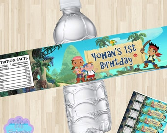 Jake and the Neverland Pirates Water Bottle Wrapper, Water Bottle Label DIY PRINTABLE