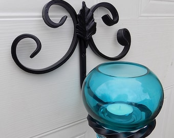 Wrought Iron(Forged Steel)Scrolled Glass Vase&Candle Holder/Sconce