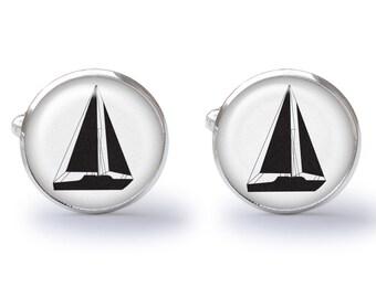 Sailboat Cufflinks - Boating Cuff Links - Nautical Cufflink - Wedding Gift (Pair) Lifetime Guarentee