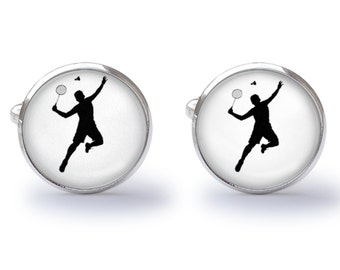 Cufflinks - Badminton Player Cufflinks - Badminton Cuff Links (Pair) Lifetime Guarantee (S0640)