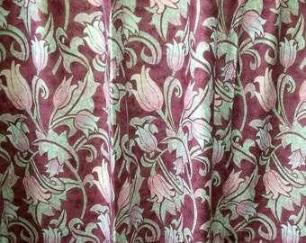 "Designed pair of printed curtains ""Curtina"" England in wine red, lilac green and pink."