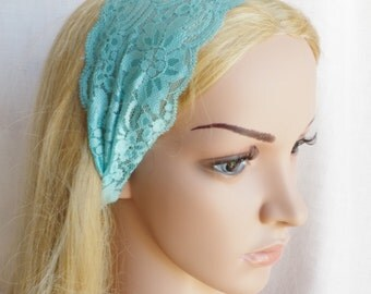 Headband Lace Head Wrap Stretch Lace Headband Turquoise Color  Accessory for your outfit wide lace stretch headband Boho Fashion Accessory