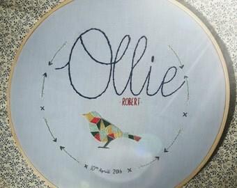 Personalised embroidery hoop nursery new baby art