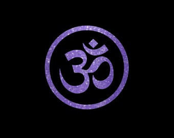 Circle Framed Glitter Om Yoga Symbol Decal, Omkar Car Decal, Yeti Tumbler Sticker, Planner Decal, Choice of Sizes and Glitter Colors!