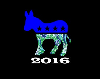 Democratic Donkey Decal with Election Year!  Show your Party affiliation and support, but with your own personal style!