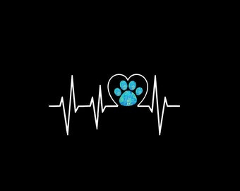 Paw Heartbeat Decal, Dog Print, Paw Print, Puppy, Car Decal, Pattern Paw, Vinyl Decal