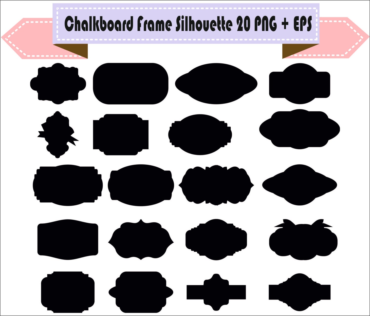 Chalkboard Frame Badges Vintage Motif Shapes Pack ...
