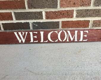 Red Distressed Welcome Sign
