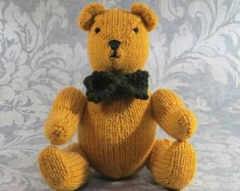 Hand Knitted Teddy Bear 'Mr Mustard' OOAK- My Bare Foot Bears