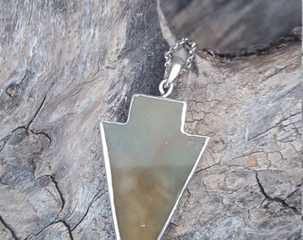 Large Agate Arrowhead on Silver Chain Necklace