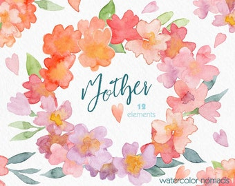 Flower watercolor clipart, Mother's Day clip art, spring flowers clipart, flower graphics, flower wreath, digital clipart, spring, diy, card