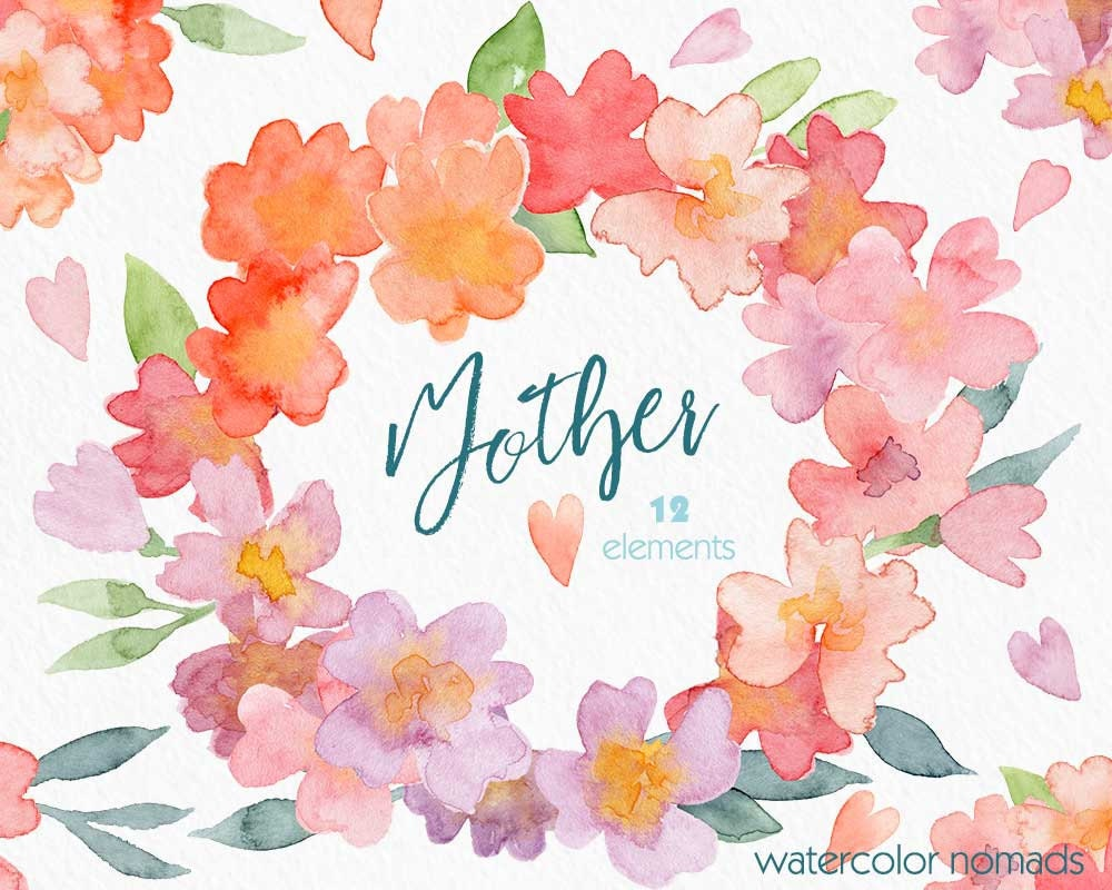 Flower watercolor clipart mother 39 s day clip art spring for Spring flowers watercolor