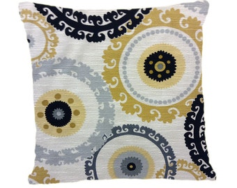 Decorative Pillow Cover, Throw Pillow Cover Mustard Yellow, grey, black Medallions