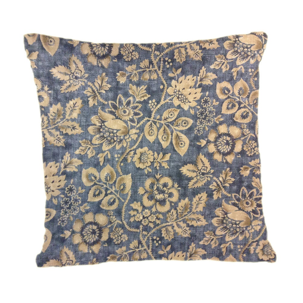 Country Blue Throw Pillows : Country Blue Tan Floral Pillow Cover Throw Pillow Decorative