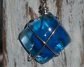 Resin Necklace , Ocean Blue Resin, Surf Glass Necklace, Wire Wrapped Necklace, Sterling Silver Necklace, Wire Wrapped