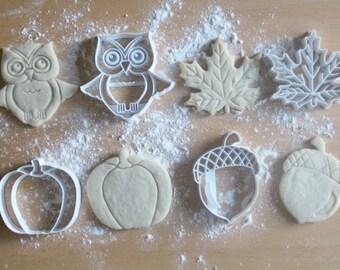 Fall Pack 3D Printed Cookie Cutters | Owl / Leaf / Pumpkin / Acorn