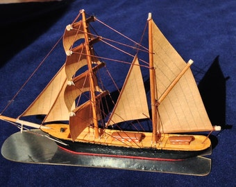 Vintage CamphorCraft Miniature Self-propelling Model Sailboat - Hand-made in England in the 1950's