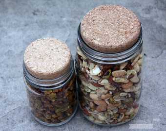 Cork Lid / Stopper for Mason Jars - 2-pack | Regular or Wide Mouth | Food storage / coffee storage / crafts / decor