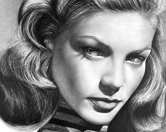 Lauren Bacall Original Fine Art Pencil Drawing