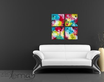 4, 10x10 floral mixed media paintings on canvas