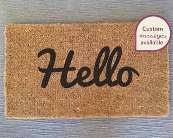 Hello/Welcome/Oh Hi! Doormat/Entrance Mat - Custom Text Available - Personalize Your Mat!