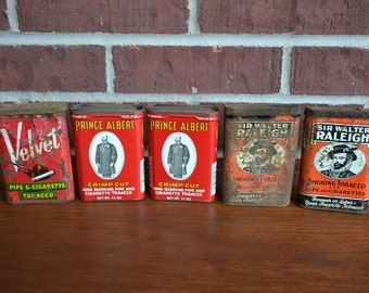Set of 5 Vintage Tobacco Tins / Prince Albert / Velvet / Sir Walter Raleigh