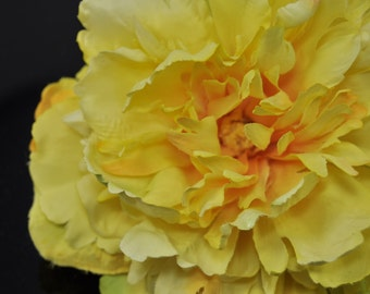 Giant Yellow Artificial Peony, Stemless