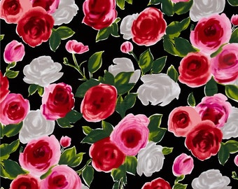 Michael Miller On The Town Marilyn Black Fabric 100% Cotton -  Tula Juliette Red Roses - Pink Roses