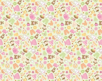 SALE 7.99 Yard - Riley Blake Sweet Baby Girl C4291 Green Pink Orange fabric