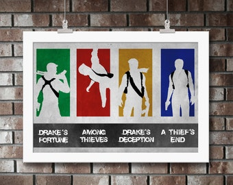 Uncharted Series, Print, Artwork, Poster, Gift, Sony, Nathan, Drake, Drakes Fortune, Among Thieves, Drakes Deception, PlayStation,