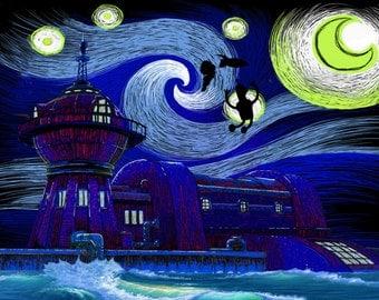 Futurama, Starry Night, planet express print.