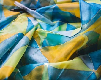 Triangle Blue and Yellow scarf, Geometric silk scarf, summer scarf, bright silk scarf, gift for her, Hand Painted silk