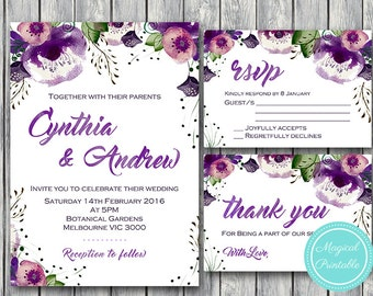 Purple  Wedding Invitation, Wedding Invitation Printable, Bridal Shower, Baby Shower, Personalized, Wedding Invitation Suite WD83 WI31