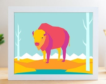 "Prarie Bison // 8x10"" Archival Print"