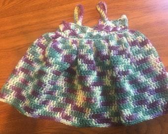 Crocheted multicolor baby girl dress