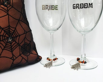 Gothic Ring Bearer Pillow with matching Wine Glass Charms