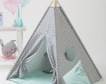 Canvas Teepee, Play Tent, Kids Teepee, Childrens Teepee, Teepee Tent, Tipi, Playhouse, Teepee SET Including Poles Tent Tipi Canvas