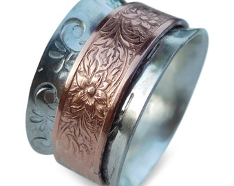 Sterling Silver Spinner ring with Copper