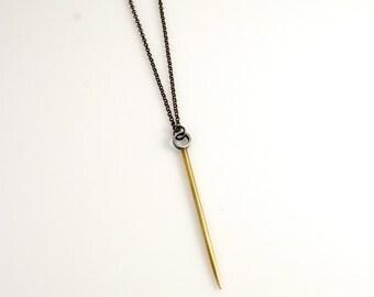 Long Silver & Brass Spike Necklace