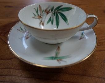 Beautiful vintage antique teacup bird feeder/ bamboo teacup bird feeder