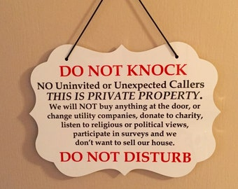 Do Not Knock/Disturb-No Soliciting Sign/Plaque